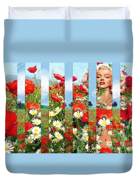 Marilyn In Poppies 1 Duvet Cover