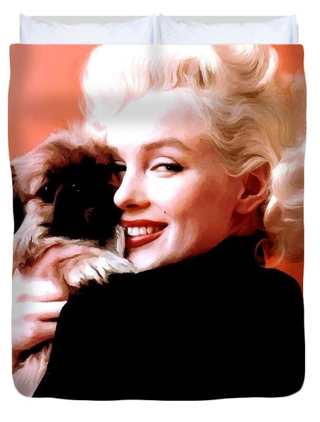Marilyn Monroe And Pekingese Portrait Duvet Cover