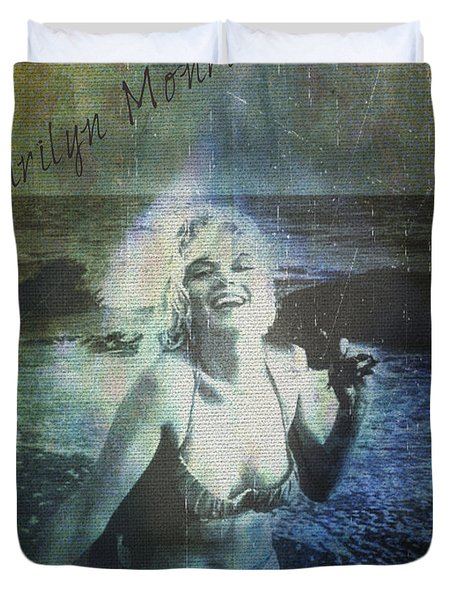 Marilyn Monroe At The Beach Duvet Cover by Absinthe Art By Michelle LeAnn Scott