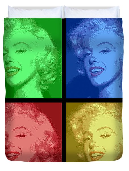 Marilyn Monroe Colored Frame Pop Art Duvet Cover by Daniel Hagerman