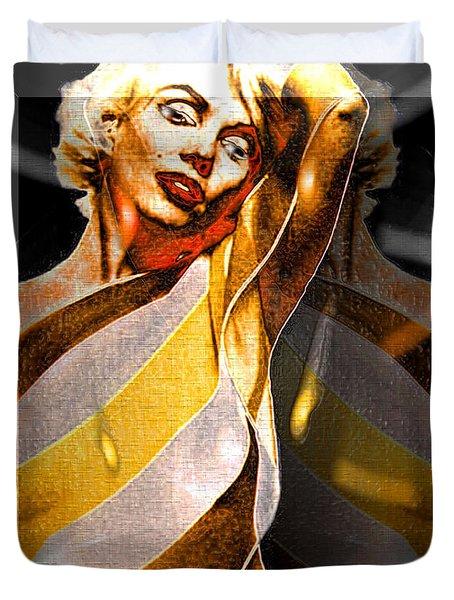 Duvet Cover featuring the digital art Marilyn Monroe by Daniel Janda