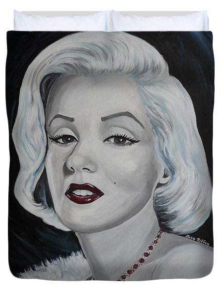 Duvet Cover featuring the painting Marilyn Monroe by Julie Brugh Riffey