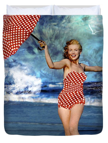 Duvet Cover featuring the photograph Marilyn Monroe - On The Beach by Ericamaxine Price