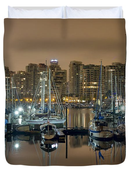 Marina Along Stanley Park In Vancouver Bc Duvet Cover by David Gn
