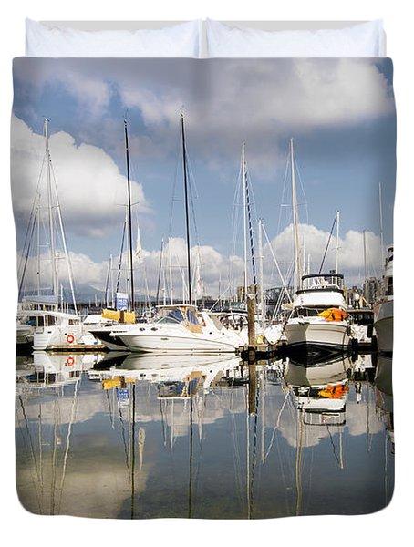 Marina At Granville Island Vancouver Bc Duvet Cover by David Gn