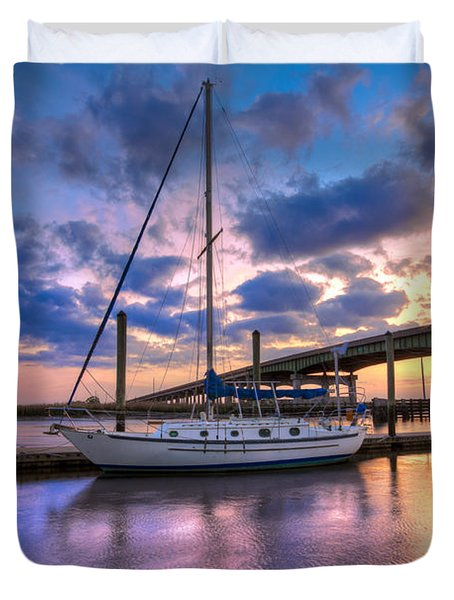 Marina At Sunset Duvet Cover by Debra and Dave Vanderlaan