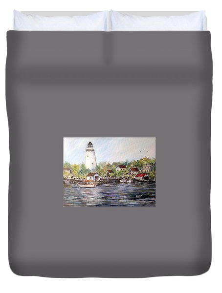 Marina At The Lighthouse Duvet Cover by Dorothy Maier