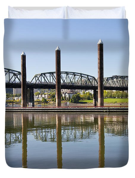 Duvet Cover featuring the photograph Marina By Willamette River In Portland Oregon by JPLDesigns