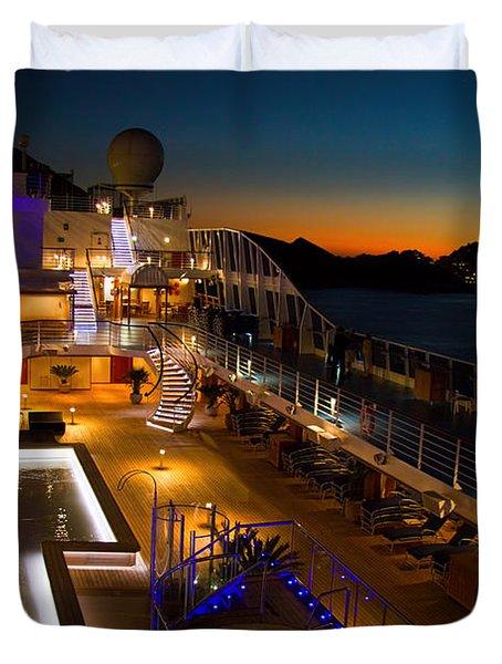 Marina Cruise Ship Pool Deck At Dusk Duvet Cover