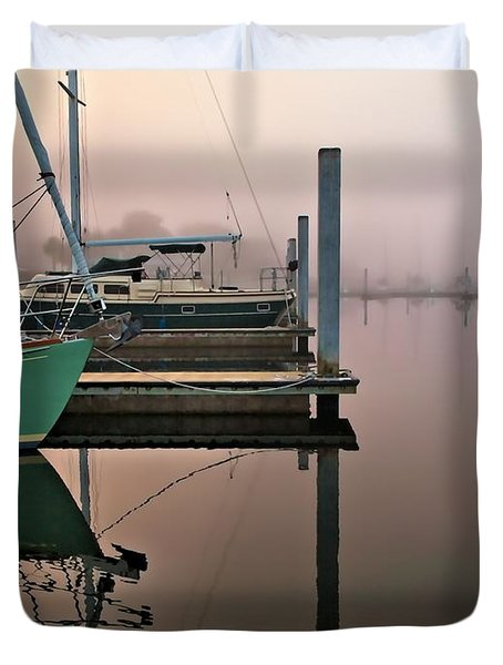 Duvet Cover featuring the photograph Marina Morning by Laura Ragland