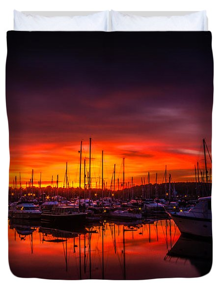 Marina Sunset Duvet Cover by Dawn OConnor