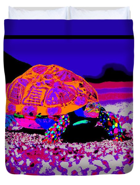Marine Corporals Turtle In Peace Paint V3 Duvet Cover