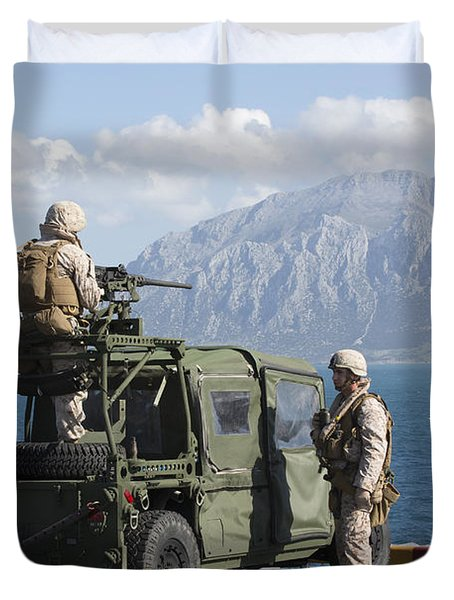 Marines Stand Watch On The Flight Deck Duvet Cover