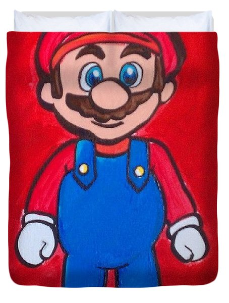 Duvet Cover featuring the painting Mario by Marisela Mungia