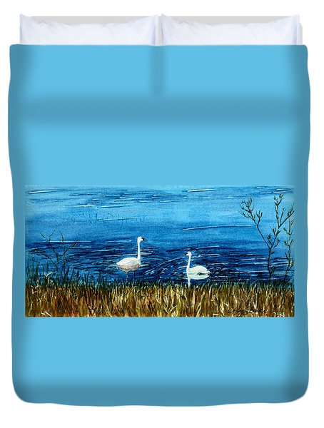 Marion Lake Swans Duvet Cover