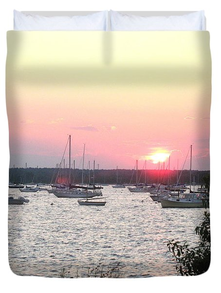 Duvet Cover featuring the photograph Marion Massachusetts Bay by Kathy Barney
