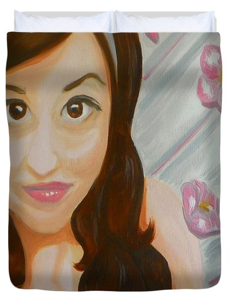 Duvet Cover featuring the painting Marisela by Marisela Mungia