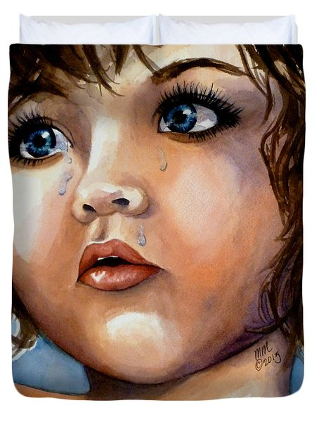 Crying Blue Eyes Duvet Cover