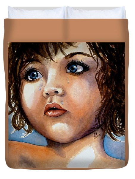 Crying Blue Eyes Duvet Cover