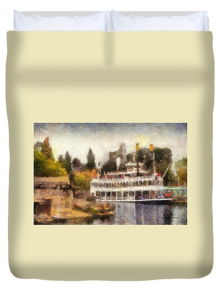 Mark Twain Riverboat Frontierland Disneyland Photo Art 02 Duvet Cover by Thomas Woolworth