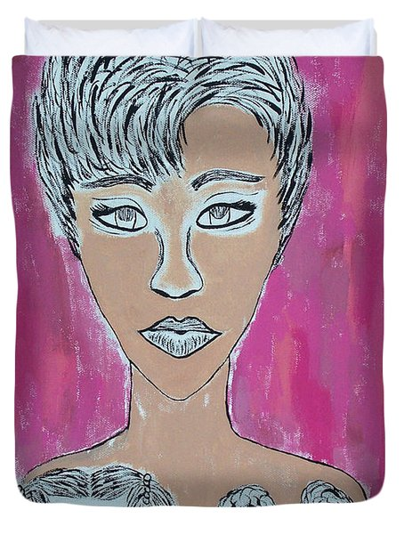 Mother And Daughters Painting And Drawing Duvet Cover