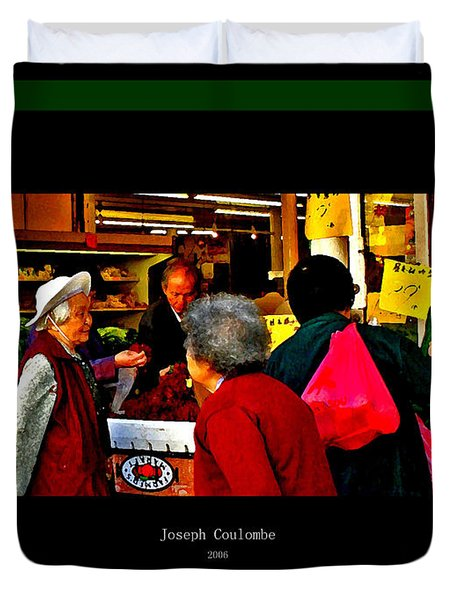 Market Day In Chinatown  Duvet Cover by Joseph Coulombe