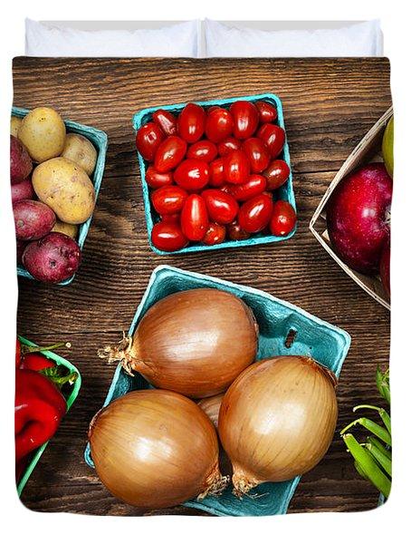 Market Fruits And Vegetables Duvet Cover by Elena Elisseeva
