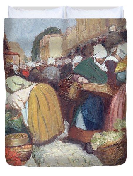 Market In Brest Duvet Cover by Fernand Piet