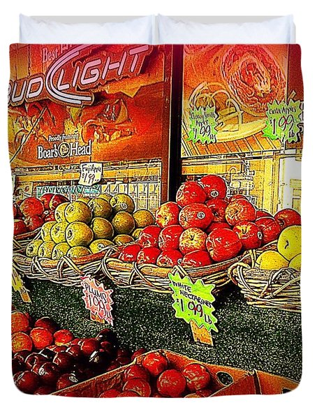 Apples And Plums In Red - Outdoor Markets Of New York City Duvet Cover by Miriam Danar