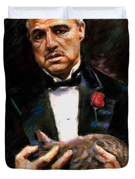 Duvet Cover featuring the drawing Marlon Brando The Godfather by Viola El