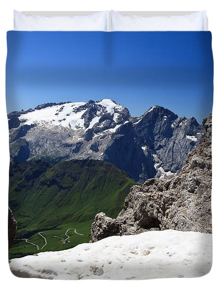 Duvet Cover featuring the photograph Marmolada From Saas Pordoi by Antonio Scarpi