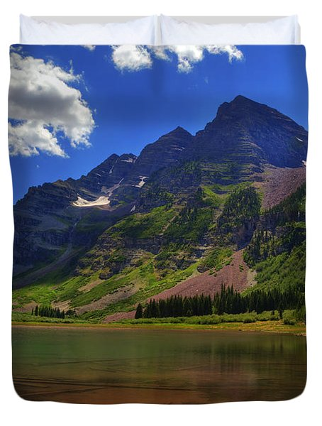 Duvet Cover featuring the photograph Maroon Bells by Alan Vance Ley