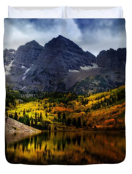Duvet Cover featuring the photograph Maroon Bells - An American Icon by Ellen Heaverlo