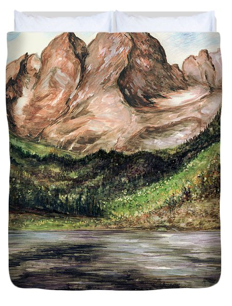 Maroon Bells Colorado - Landscape Painting Duvet Cover