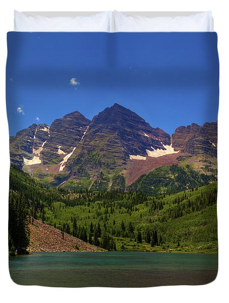 Duvet Cover featuring the photograph Maroon Bells From Maroon Lake by Alan Vance Ley