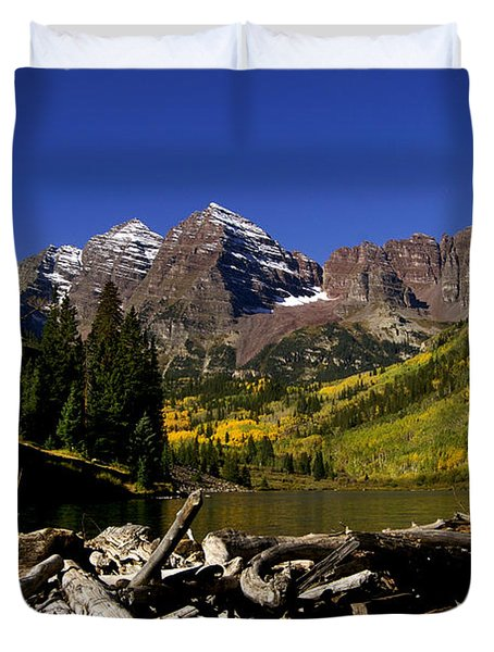 Duvet Cover featuring the photograph Maroon Bells by Jeremy Rhoades