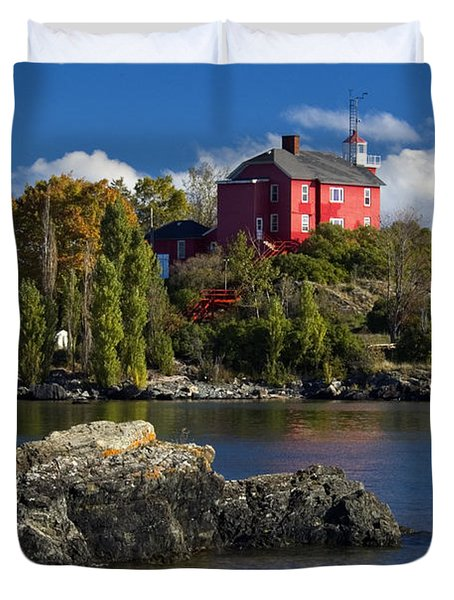 Marquette Harbor Light - D003224 Duvet Cover by Daniel Dempster