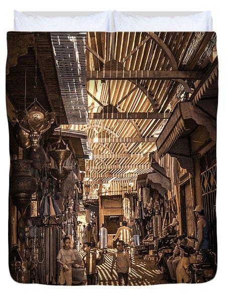 Marrakech Souk With Children Duvet Cover