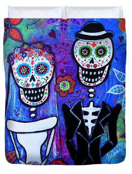 Married Couple Dia De Los Muertos Duvet Cover