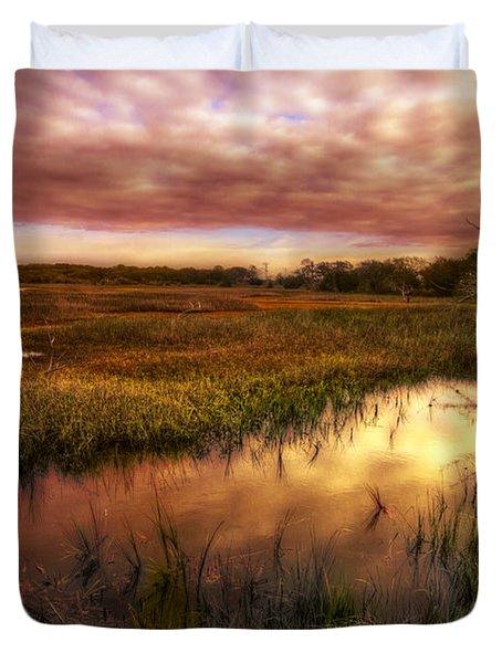 Marsh At Dawn Duvet Cover by Debra and Dave Vanderlaan