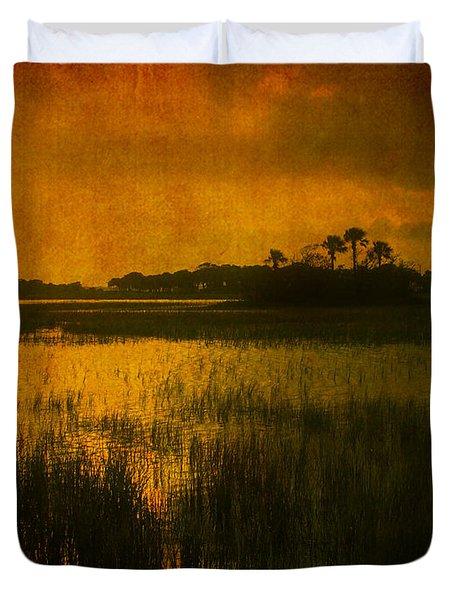 Marsh Island Sunset Duvet Cover by Susanne Van Hulst