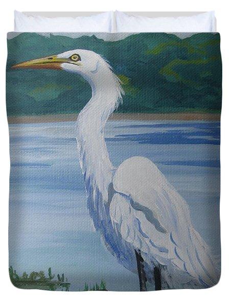 Marsh Land Egret Duvet Cover
