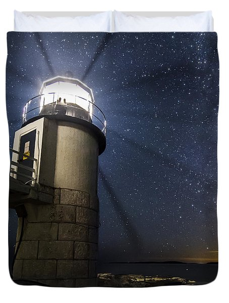 Marshall Lighthouse And The Night Sky Duvet Cover by John Vose