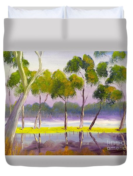 Duvet Cover featuring the painting Marshlands Murray River Red River Gums by Pamela  Meredith