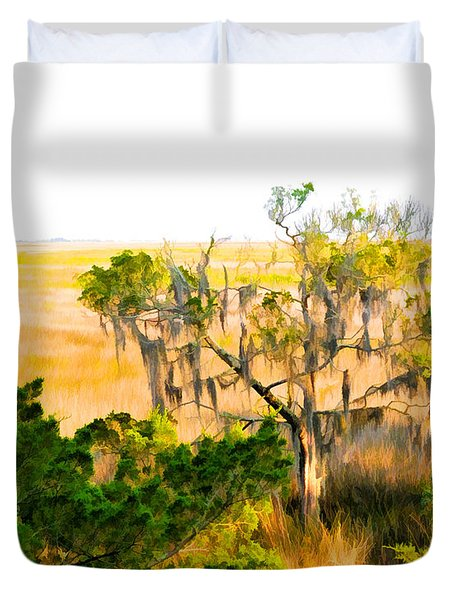 Marsh Cedar Tree And Moss Duvet Cover