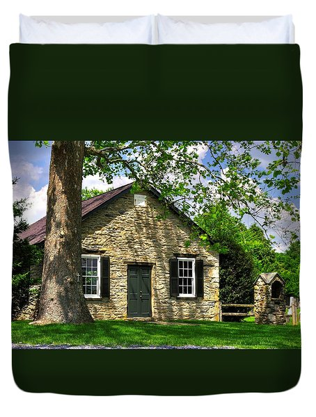 Maryland Country Churches - Fairview Chapel-1a Spring - Established 1847 Near New Market Maryland Duvet Cover by Michael Mazaika