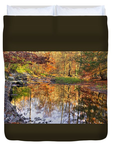 Maryland Country Roads - Moments For Reflection No. 1 - Cunningham Falls State Park Autumn Duvet Cover by Michael Mazaika