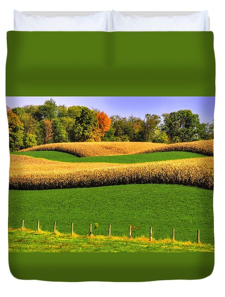 Maryland Country Roads - Swales Duvet Cover by Michael Mazaika