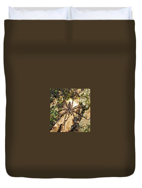 Brown Fishing Spider Duvet Cover