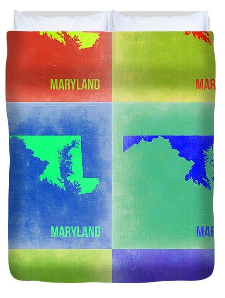 Maryland Pop Art Map 2 Duvet Cover by Naxart Studio